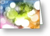 Lights Greeting Cards - Abstract background Greeting Card by Les Cunliffe