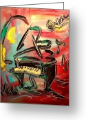 Flower Photography Painting Greeting Cards - Piano Greeting Card by Mark Kazav
