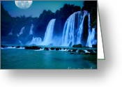 Moonlight Greeting Cards - Waterfall Greeting Card by MotHaiBaPhoto Prints