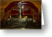 Automobile Hood Greeting Cards - 1914 Model-T Ford Hood Ornament Greeting Card by Douglas Barnard