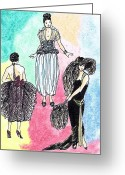 Fans Drawings Greeting Cards - 1920s Gals 4 Greeting Card by Mel Thompson