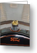 Custom Roadster Greeting Cards - 1924 Ford Model T Roadster Hood Ornament Greeting Card by Jill Reger