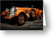 Sportscars Greeting Cards - 1924 Hispano Suiza Dubonnet Tulipwood . Front Angle Greeting Card by Wingsdomain Art and Photography