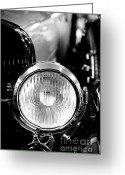 Men Greeting Cards - 1925 Lincoln Town Car Headlight Greeting Card by Sebastian Musial