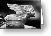 Car Mascot Greeting Cards - 1928 Buick Custom Speedster Hood Ornament 3 Greeting Card by Jill Reger