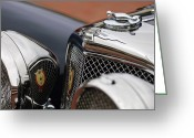 Roadster Greeting Cards - 1928 Jaguar SS100  3.5-Liter Roadster Hood Ornament Greeting Card by Jill Reger