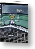 Model A Greeting Cards - 1928 Model A Ford - Hood Ornament and Badge Greeting Card by Kaye Menner