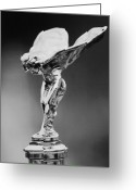 Automobile Hood Greeting Cards - 1928 Rolls-Royce Phantom 1 Hood Ornament black and white Greeting Card by Jill Reger