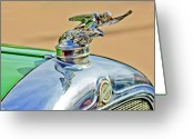 Car Mascot Greeting Cards - 1928 Studebaker Hood Ornament Greeting Card by Jill Reger