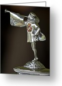Cowl Greeting Cards - 1929 Cadillac 1183 Dual Cowl Phaeton Hood Ornament Greeting Card by Jill Reger
