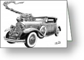 Pencil Drawing Drawings Greeting Cards - 1929 Cadillac  Greeting Card by Peter Piatt