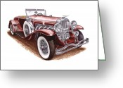 Cowl Greeting Cards - 1930 Dusenberg Model J Greeting Card by Jack Pumphrey