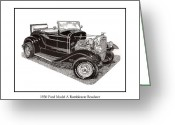 Classic Ford Roadster Greeting Cards - 1930 Ford Model A Roadster Greeting Card by Jack Pumphrey