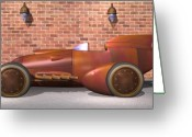 Racer Digital Art Greeting Cards - 1930 Streamliner Greeting Card by Stuart Swartz