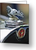 1931 Roadster Greeting Cards - 1931 American Austin Roadster Hood Ornament Greeting Card by Jill Reger