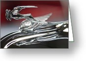 1931 Roadster Greeting Cards - 1931 Chrysler CG Imperial Roadster Hood Ornament Greeting Card by Jill Reger