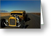 Desert Rat Photo Greeting Cards - 1931 Ford Model A Sedan Rat Rod Greeting Card by Tim McCullough