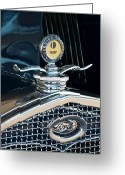 Model A Greeting Cards - 1931 Model A Ford Deluxe Roadster Hood Ornament Greeting Card by Jill Reger
