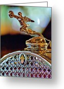 Car Mascot Greeting Cards - 1931 Packard Convertible Victoria Hood Ornament Greeting Card by Jill Reger
