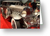 Hotrod Photo Greeting Cards - 1932 Duesenberg SJ Turing Front Angle Greeting Card by Wingsdomain Art and Photography
