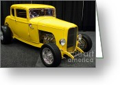 Cars Greeting Cards - 1932 Ford 5 Window Coupe . Yellow . 7D9275 Greeting Card by Wingsdomain Art and Photography