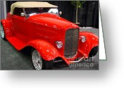 Classic Ford Roadster Greeting Cards - 1932 Ford Roadster . Red . 7D9285 Greeting Card by Wingsdomain Art and Photography