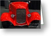 Classic Ford Roadster Greeting Cards - 1932 Ford Roadster . Red . 7D9286 Greeting Card by Wingsdomain Art and Photography