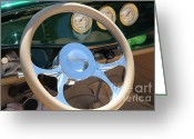 Classic Ford Roadster Greeting Cards - 1932 Ford Roadster Steering Wheel and Guages . 5D16176 Greeting Card by Wingsdomain Art and Photography