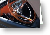 Classic Ford Roadster Greeting Cards - 1932 Ford Roadster Steering Wheel Greeting Card by Jill Reger