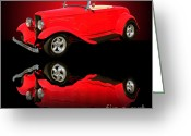 Hotrod Photo Greeting Cards - 1932 Ford V8 Red Roadster Greeting Card by Jim Carrell