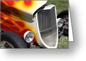 Classic Ford Roadster Greeting Cards - 1933 Ford Roadster With Flames . 5D16237 Greeting Card by Wingsdomain Art and Photography