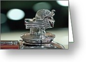 Cowl Greeting Cards - 1933 Stutz DV-32 Dual Cowl Phaeton Hood Ornament Greeting Card by Jill Reger