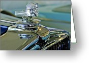 Vintage Hood Ornament Greeting Cards - 1933 Stutz DV-32 Hood Ornament Greeting Card by Jill Reger