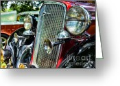 Bowtie Greeting Cards - 1934 Chevrolet Head Lights Greeting Card by Paul Ward
