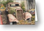 Pickup Painting Greeting Cards - 1934 Dodge Half-Ton Greeting Card by Sam Sidders