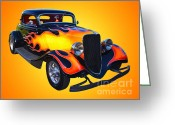 Hotrod Photo Greeting Cards - 1934 Ford 3 Window Coupe Hotrod Greeting Card by Jim Carrell