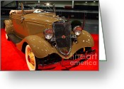 Sportscars Greeting Cards - 1934 Ford Model 40 Deluxe Cabriolet Greeting Card by Wingsdomain Art and Photography