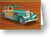 Suiza Greeting Cards - 1934 HispanoSuzia Shooting Brake Greeting Card by Jack Pumphrey