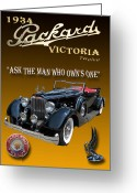 Mascots Digital Art Greeting Cards - 1934 Packard Greeting Card by Jack Pumphrey