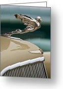 Hood Ornament Greeting Cards - 1935 Cadillac Convertible Hood Ornament Greeting Card by Jill Reger
