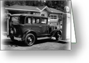 Johnston Greeting Cards - 1935 Chevy black and white Greeting Card by Garry Staranchuk