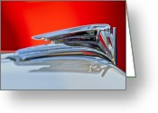 Ford V8 Greeting Cards - 1935 Ford V8 Hood Ornament 3 Greeting Card by Jill Reger