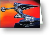 Car Mascot Greeting Cards - 1935 Packard Hood Ornament 2 Greeting Card by Jill Reger