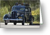 Twitter Greeting Cards - 1935 Plymouth Taxi Cab Greeting Card by Jill Reger