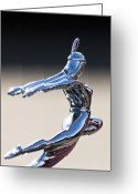 Vintage Hood Ornament Greeting Cards - 1935 Pontiac Hood Ornament 1 Greeting Card by Jill Reger