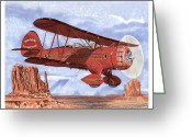 Bi Plane Greeting Cards - 1935 Waco Bi-Plane Greeting Card by Jack Pumphrey