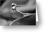 Antique Cars Greeting Cards - 1936 Cadillac Hood Ornament 3 Greeting Card by Jill Reger