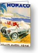 Ferrari Digital Art Greeting Cards - 1936 F1 Monaco Grand Prix  Greeting Card by Nomad Art And  Design