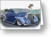 Lowered Greeting Cards - 1936 Ford Coupe Greeting Card by Steve McKinzie