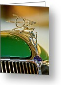Car Mascot Greeting Cards - 1936 Ford Deluxe Roadster Hood Ornament Greeting Card by Jill Reger
